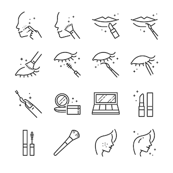 Make-up and cosmetic line icon set 2.