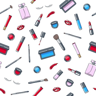 Make-up cosmetics products seamless pattern.