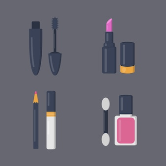 Make up cosmetics set of  icons in cartoon . beauty salon and woman cosmetic magazine illustrations.
