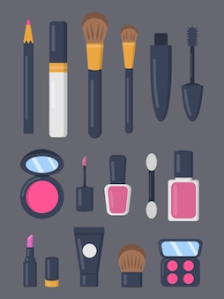 Make up cosmetics set of icons in cartoon style. lipstick and pomade fashion makeup collection. beauty salon and woman cosmetic magazine