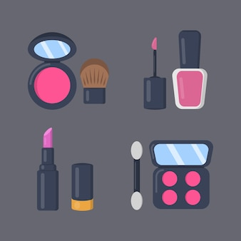 Make up cosmetics set of icons in cartoon style