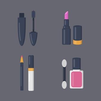 漫画のアイコンの化粧品セットを構成します。ビューティーサロンと女性の化粧品雑誌のイラスト。