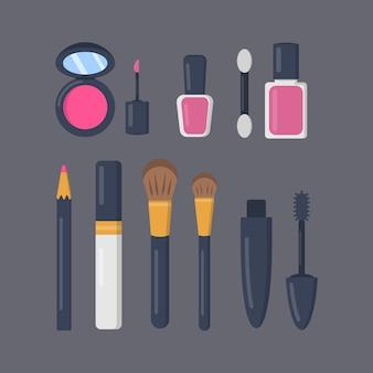 Составляют косметику набор иконок в мультфильме. коллекция модного макияжа губной помады и помады. салон красоты и иллюстрации журнала женщины косметические.