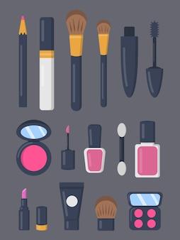 漫画のスタイルでアイコンの化粧品セットを構成します。口紅とポマードのファッションメイクアップコレクション。ビューティーサロン&ウーマンコスメティックマガジン