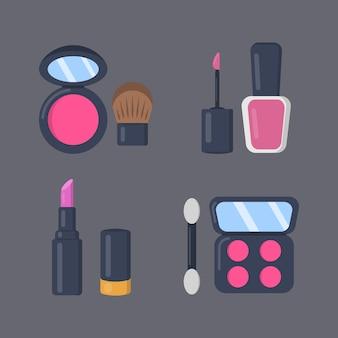 Косметика для макияжа набор иконок в мультяшном стиле