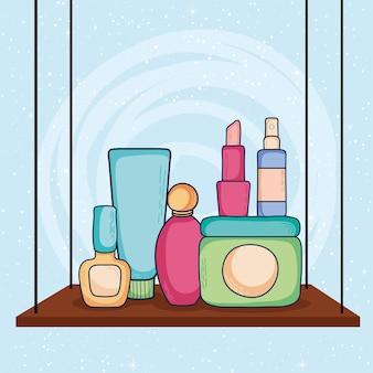 크림 용기 및 화장품 아이콘 구성