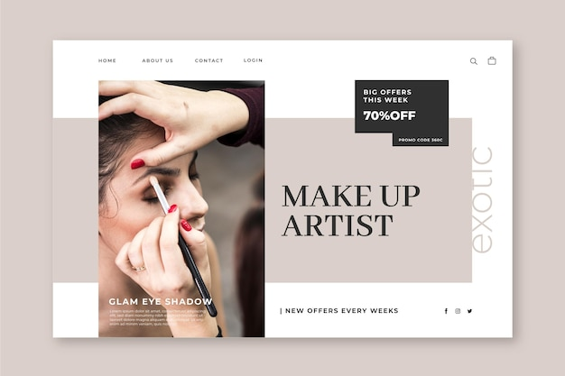 Make up landing page template with photo