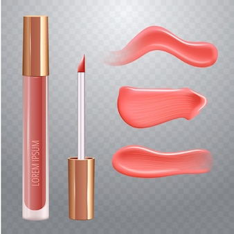 Make-up set for lips with realistic creme smear, realistic liquid lipstick.