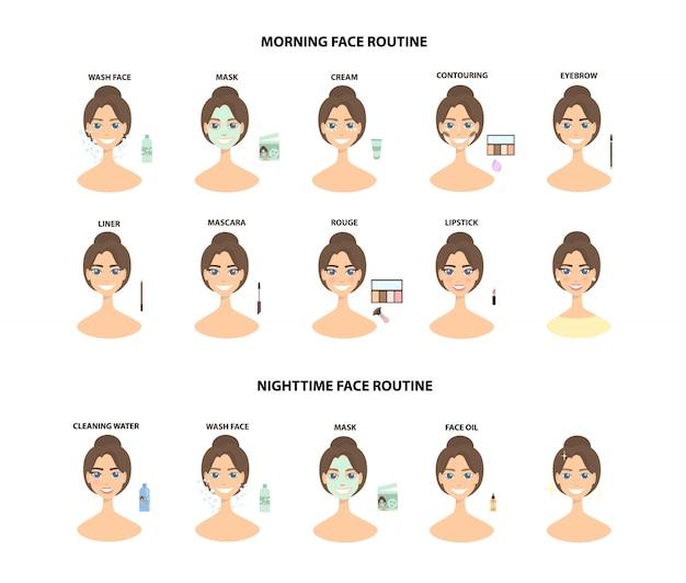 Составьте шаги. от очищения лица до полного макияжа лица и ночного времени.