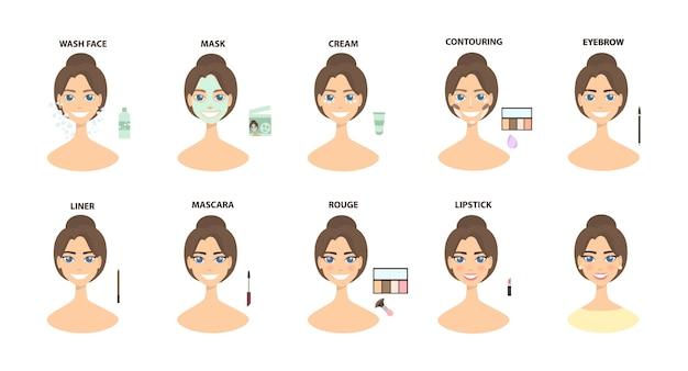 Составьте шаги. от очищения лица до полного макияжа лица.