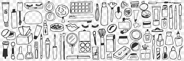도구 및 화장품 낙서 세트를 구성합니다. 손으로 그린 향수, 크림, 거울, 브러쉬, 아이섀도, 마스카라 및 매니큐어 절연의 컬렉션입니다.