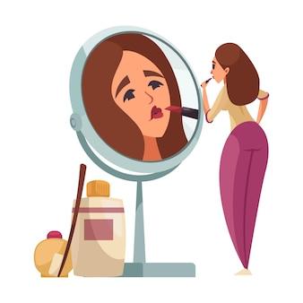 Макияж женщина надевает помаду перед зеркалом