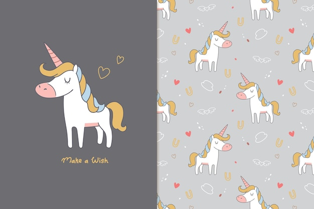 Make a wish cute unicorn seamless pattern