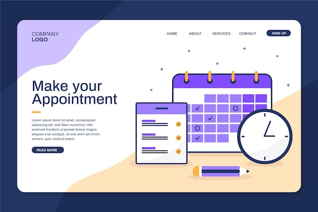 Make your appointment on calendar landing page