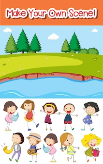 Make your own park scene or background with kids