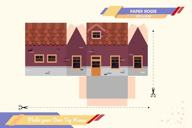 多目的に適した独自のおもちゃの家のペーパークラフトのベクトルアセンブリモデルを作成します