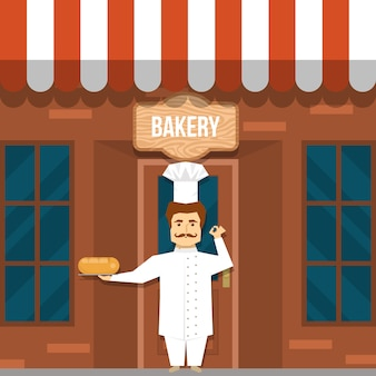 Maker of bread near bakery design with mustached man in white uniform under wooden signboard