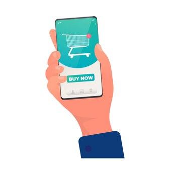 アプリを介して購入します。オンラインストアのショッピングカートアイコン。オンラインで商品を購入する。電話のクローズアップと手。孤立。ベクター。