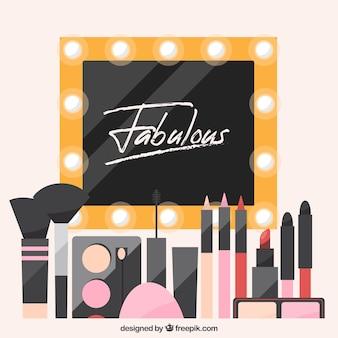 Makeup accessories background