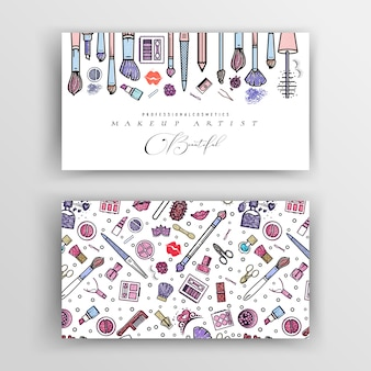 Makeup artist business card. vector template. for your design.