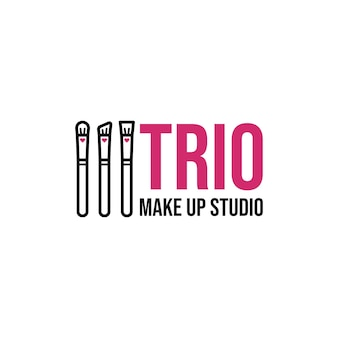 Makeup artist business logo design with make up brush icon