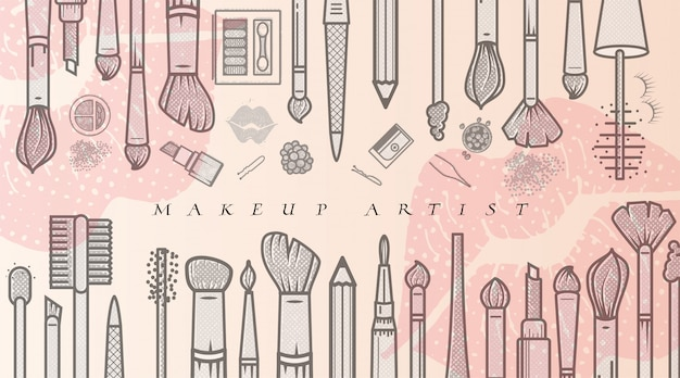 Makeup artist illustration. beauty salon fashion trends. business concept