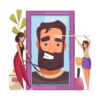 Макияж косметолог с иллюстрацией символов косметических продуктов