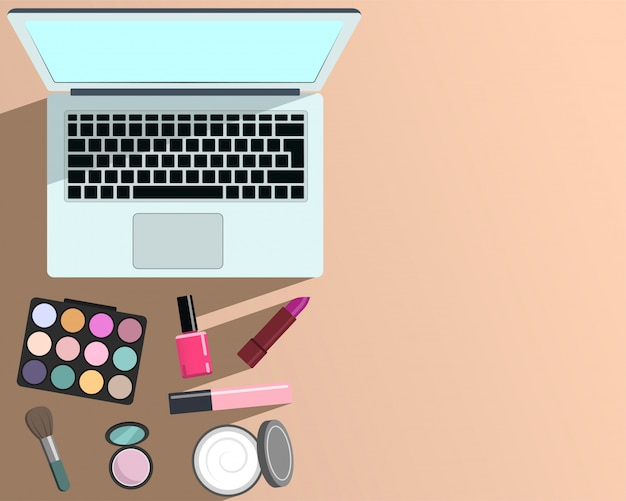 Makeup and beauty and laptop computer template and blank space for text