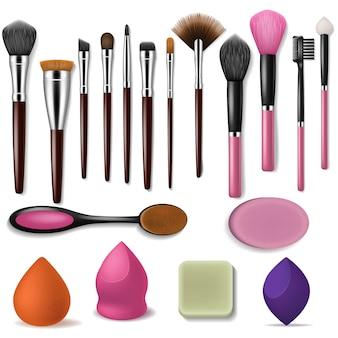 化粧ブラシプロの美容アプリケーターアクセサリーとファッションは、白い背景に分離された化粧品ブラッシング製品を構成するパウダーブラッシュシャドウイラストセットのツールを磨いた