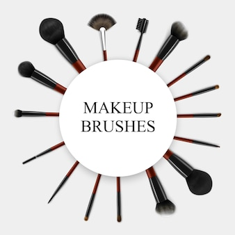 Makeup brushes realistic set frame