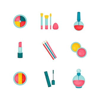 Makeup collection beauty and fashion set eyeshadow brushes nail polish lipstick eyeliners perfume bottle mascara