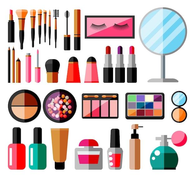 메이크업 컬렉션입니다. 장식용 화장품 세트입니다. 메이크업 매장. 다양한 브러쉬, 향수, 마스카라, 글로스, 파우더, 립스틱, 블러셔. 아름다움과 패션. 만화 평면 벡터 일러스트 레이 션