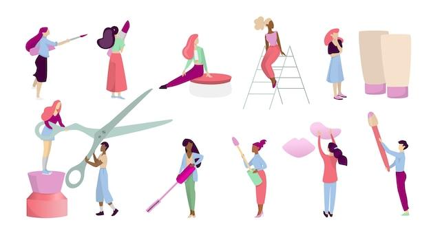メイクのコンセプトです。顔に化粧品を適用する美容手順の化粧道具を持つ人々。漫画のスタイルのイラスト