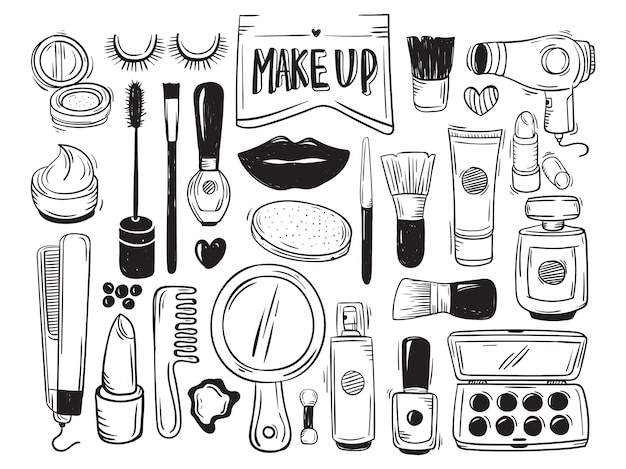 Makeup and cosmetic doodle