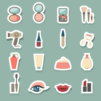 Makeup cosmetic icons set
