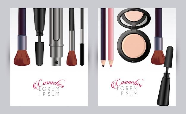 Makeup cosmetics card template Premium Vector