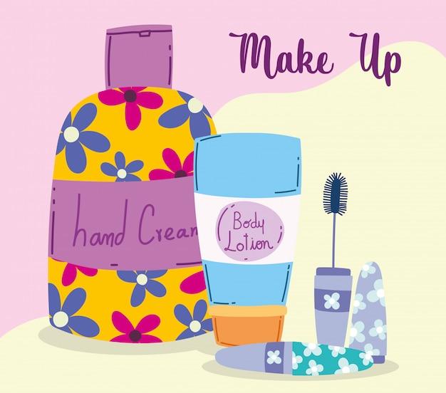 化粧品化粧品ファッション美容ボディローションハンドクリームとマスカライラスト