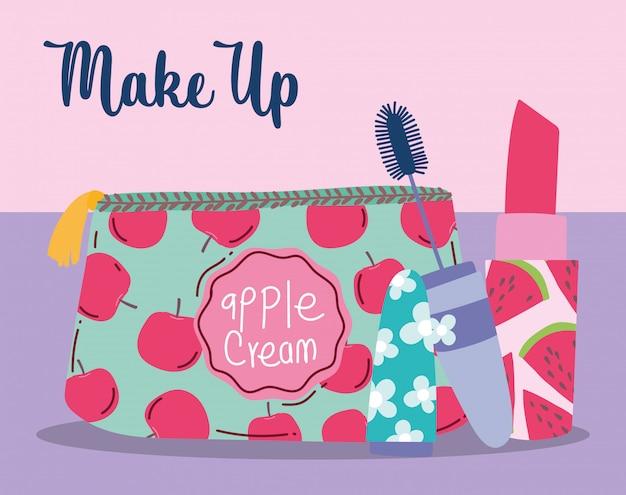 メイクアップ化粧品製品ファッション美容化粧品バッグ口紅とマスカライラスト