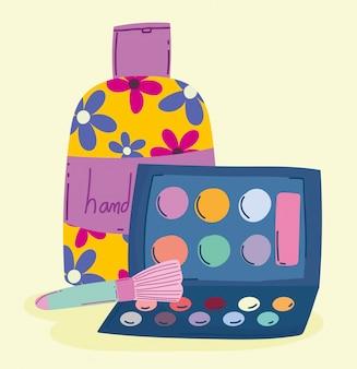 メイクアップ化粧品製品ファッション美容アイシャドウパレットとハンドクリームイラスト