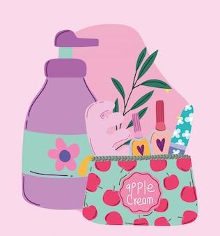 メイクアップ化粧品製品ファッション美容マニキュア、ペディキュアバッグ、ディスペンサークリームボトルイラスト