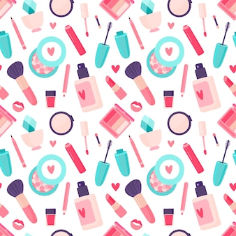 Makeup cosmetics seamless pattern