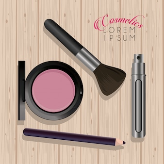 Makeup cosmetics in wooden table