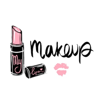 Makeup fashion logo. lettering illustration. calligraphy phrase