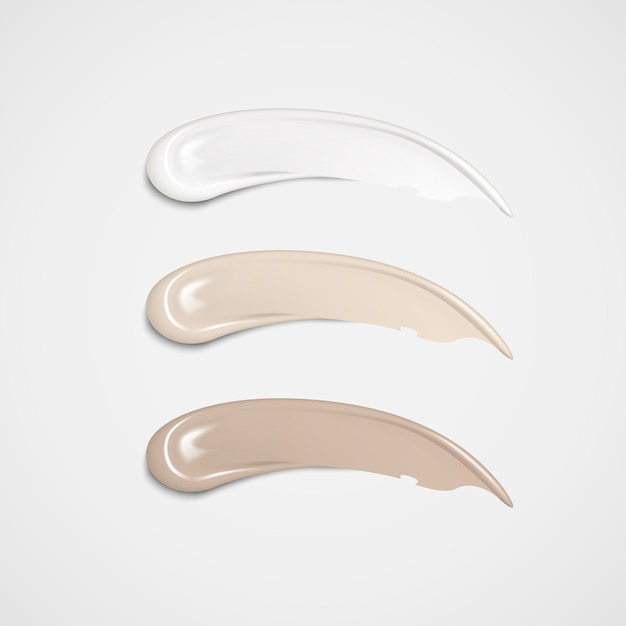 3d 일러스트에서 다른 피부 색조로 설정된 메이크업 파운데이션