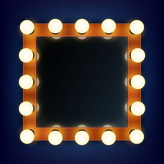 Makeup frame with light in a volumetric mirror