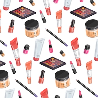Makeup kit pattern isometric