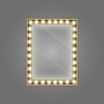 Makeup mirror isolated with gold lights. mirror in frame with light makeup lights for changing room