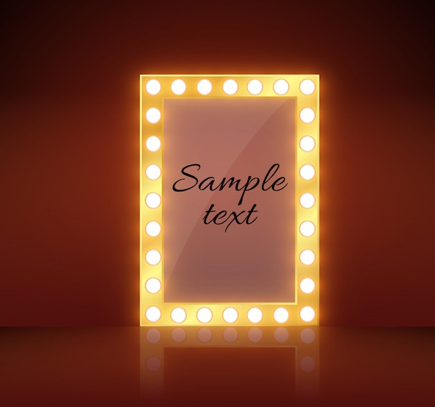 Makeup mirror isolated with gold lights.