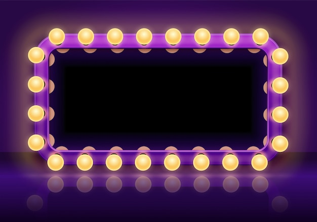 Makeup mirror table. backstage mirrors lights frame, dressing room mirror with lighting bulbs vector illustration