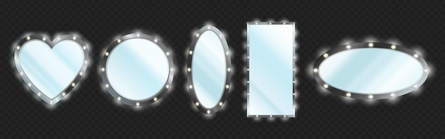 Makeup mirrors in black frame with light bulbs isolated on transparent background